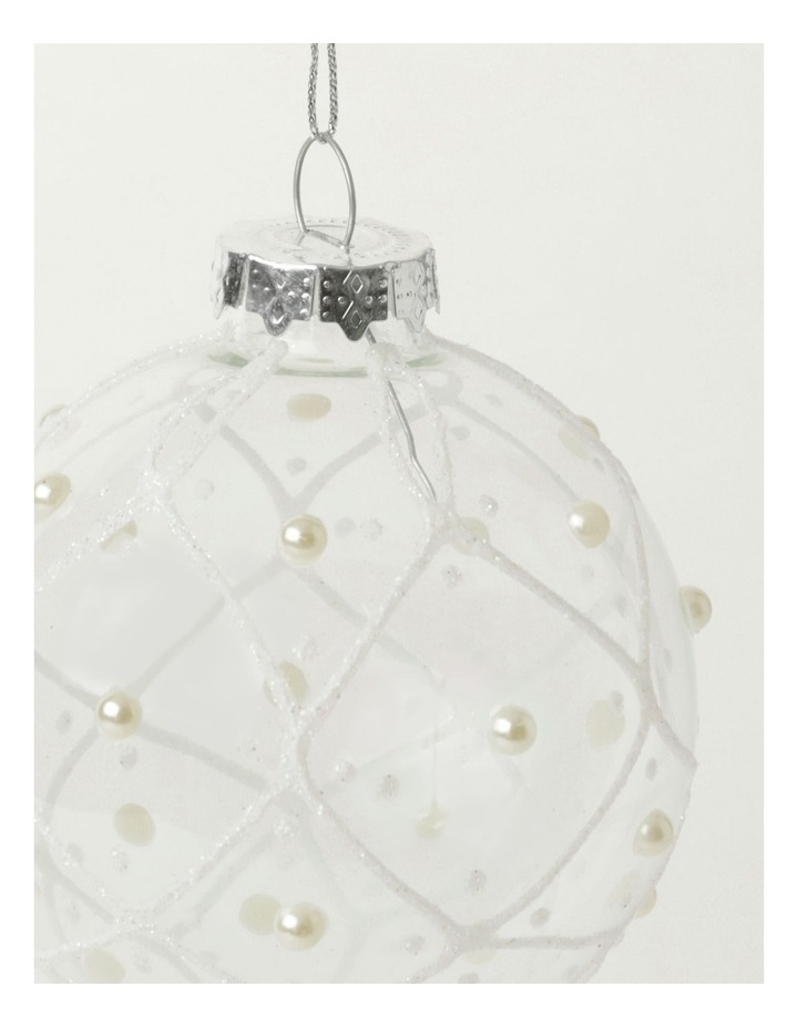 Luxe Glass Rounded Grid w/ Pearls Bauble- Clear: 8cm image 3