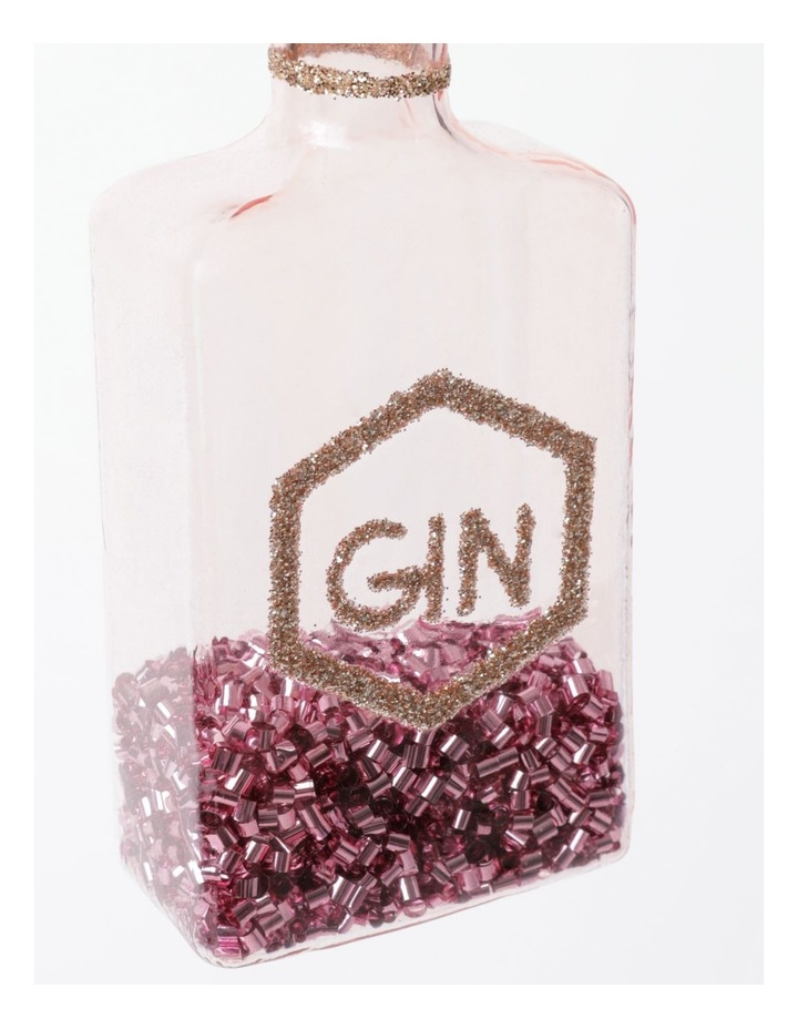 Merry & Bright Glass Berry Gin Bottle Ornament- Pink: 11cm image 3