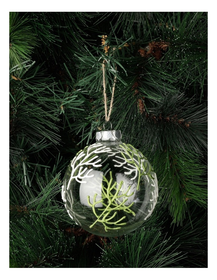 Eucalyptus Glass Coral Pattern Bauble- Green: 10cm image 1