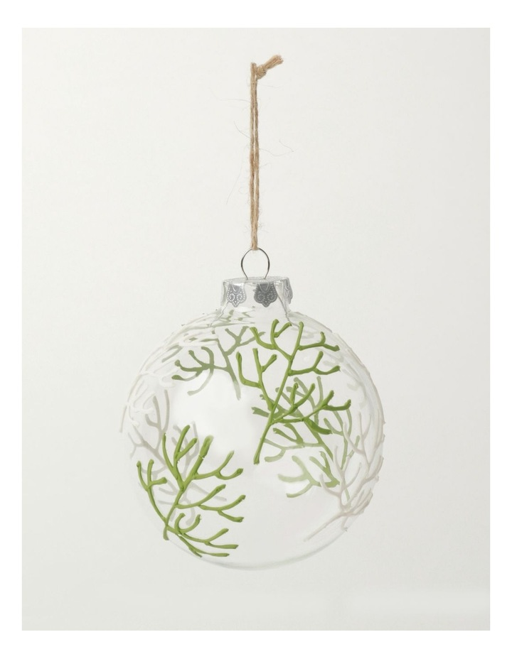 Eucalyptus Glass Coral Pattern Bauble- Green: 10cm image 2