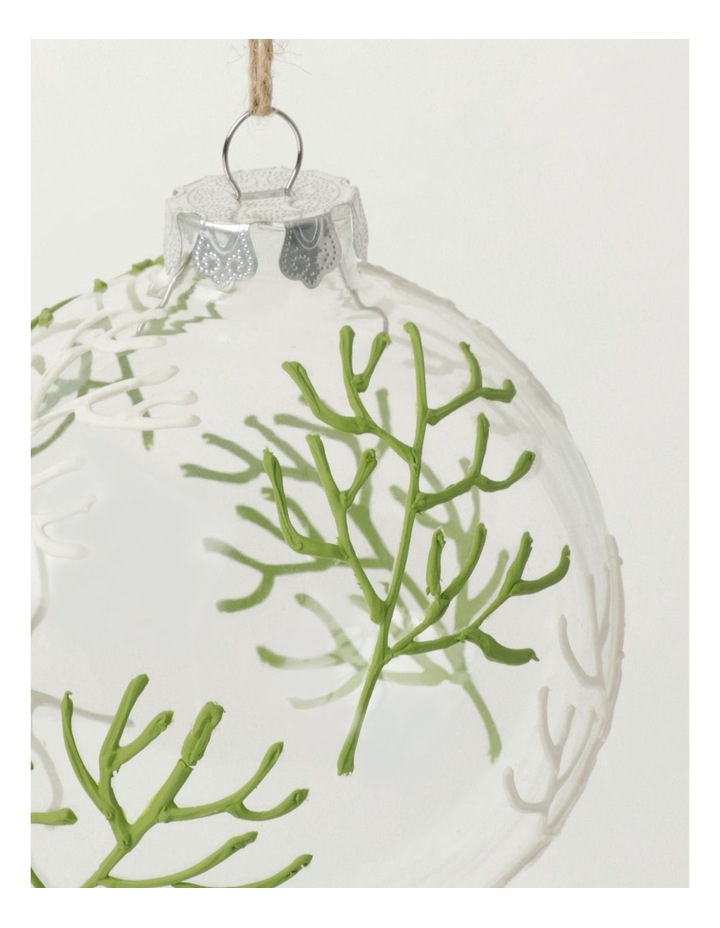 Eucalyptus Glass Coral Pattern Bauble- Green: 10cm image 3