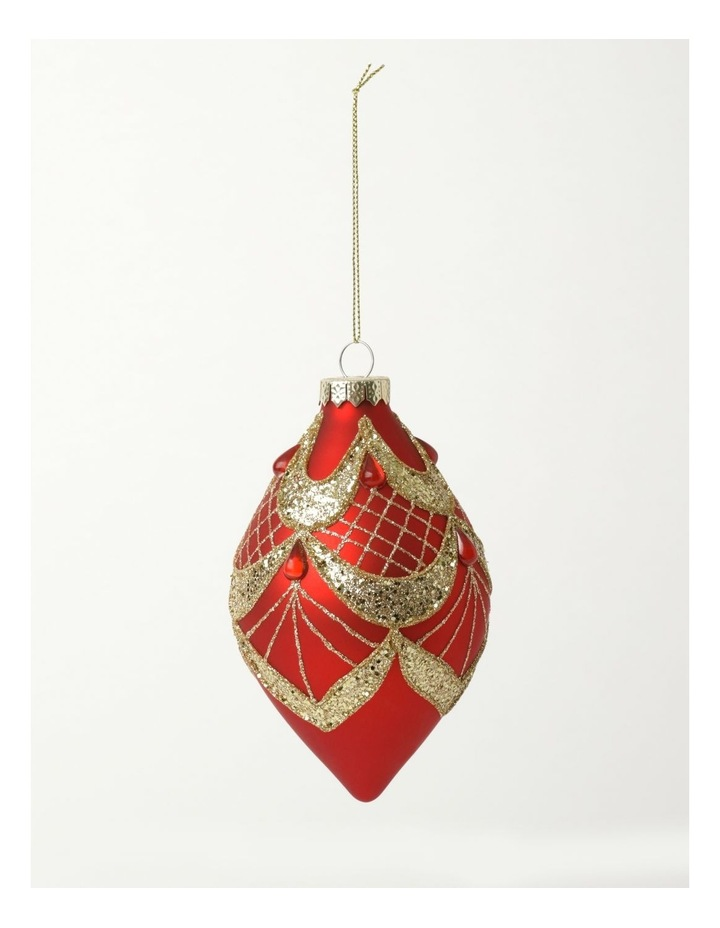 Heirloom Glass Glitter Deco Finial- Red: 13cm image 2