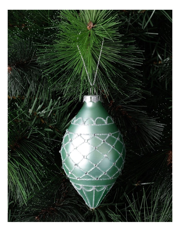Luxe Glass Glitter Quilted Finial- Mint: 10cm image 1