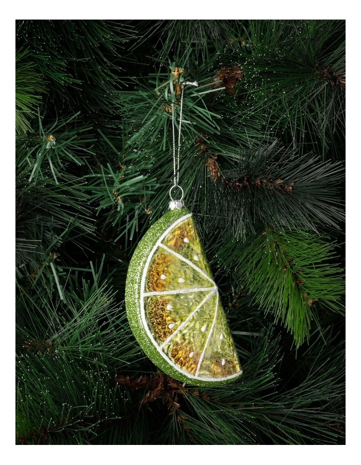 Merry & Bright Glass Lime Wedge Ornament- Green: 12cm image 1