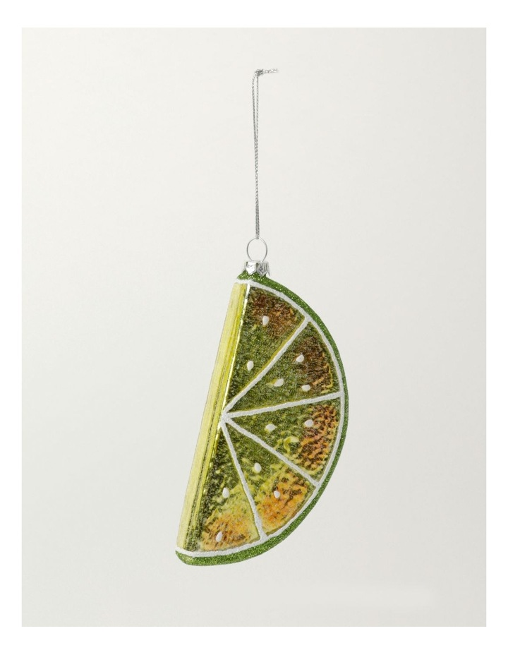 Merry & Bright Glass Lime Wedge Ornament- Green: 12cm image 2