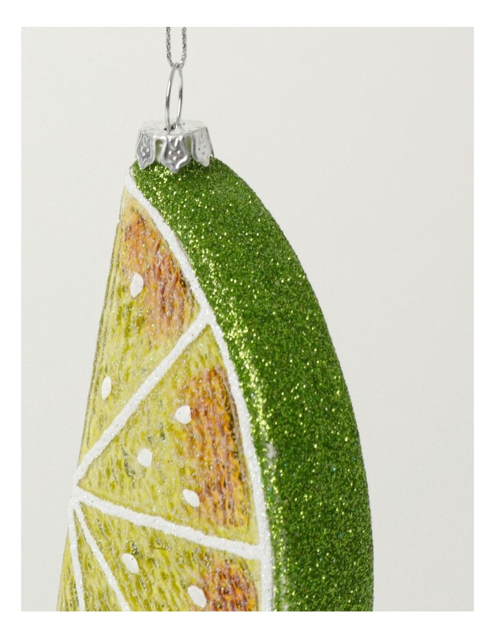 Merry & Bright Glass Lime Wedge Ornament- Green: 12cm image 3