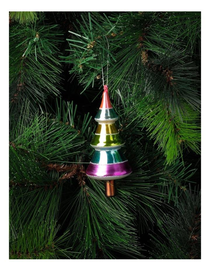 Merry & Bright Glass Rainbow Tree Ornament- Multi: 14cm image 1