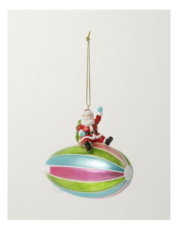 Merry & Bright Glass Santa on Blimp Ornament- Multi: 11cm image 2