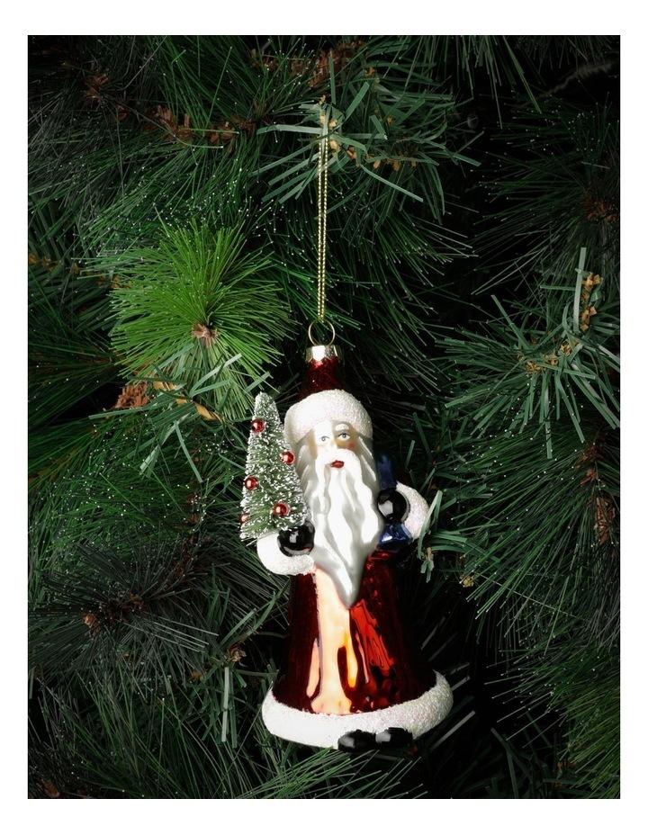 Heirloom Glass Santa w/Tree Ornament- Red: 14cm image 1