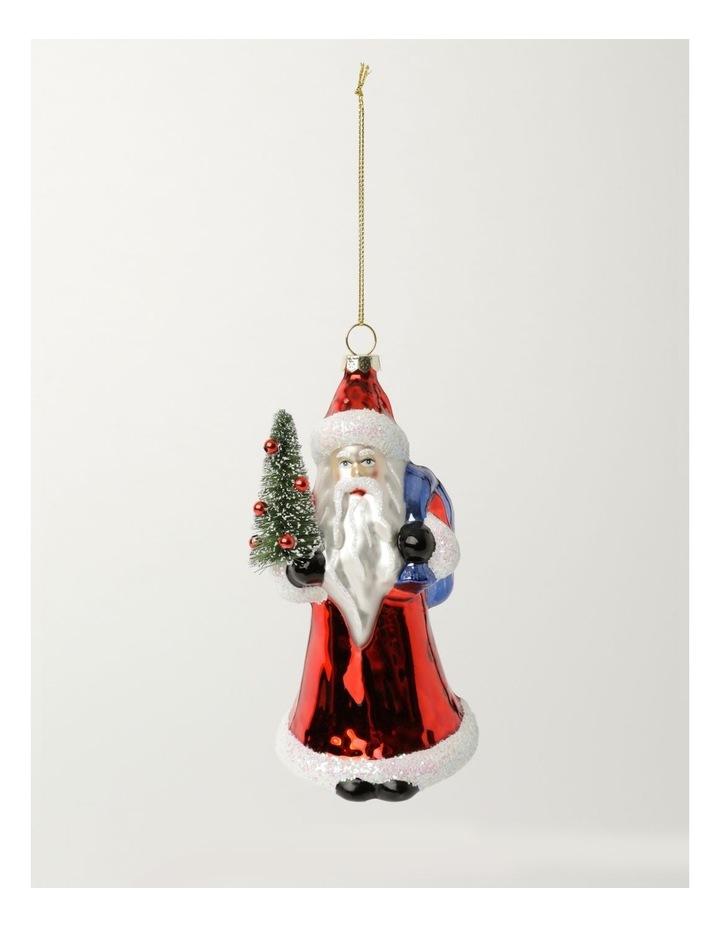 Heirloom Glass Santa w/Tree Ornament- Red: 14cm image 2