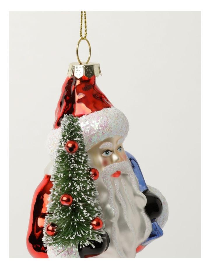 Heirloom Glass Santa w/Tree Ornament- Red: 14cm image 3