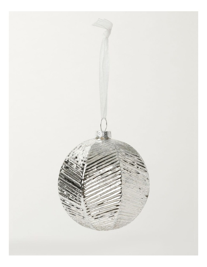 Eucalyptus Glass Brushed Chevron Bauble- Silver: 8cm image 2