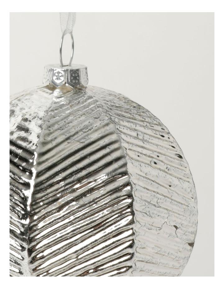 Eucalyptus Glass Brushed Chevron Bauble- Silver: 8cm image 3