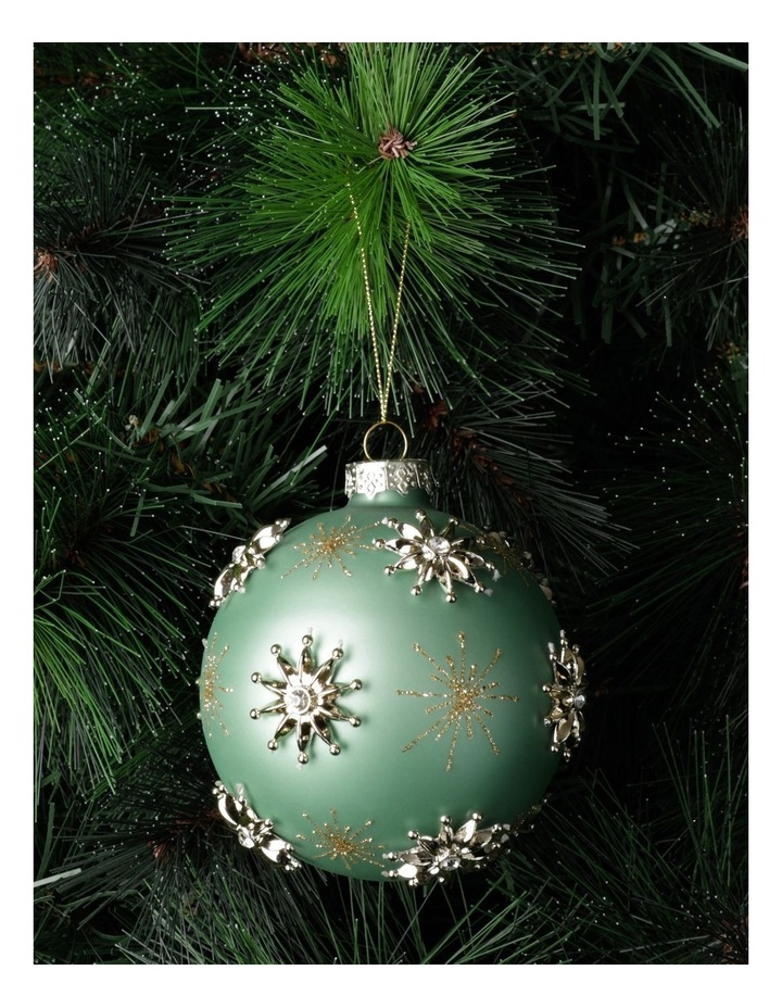 Luxe Glass Snowflake Embellished Bauble- Mint: 10cm image 1