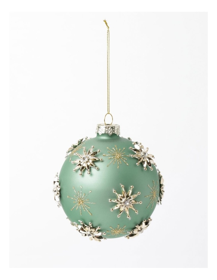 Luxe Glass Snowflake Embellished Bauble- Mint: 10cm image 2