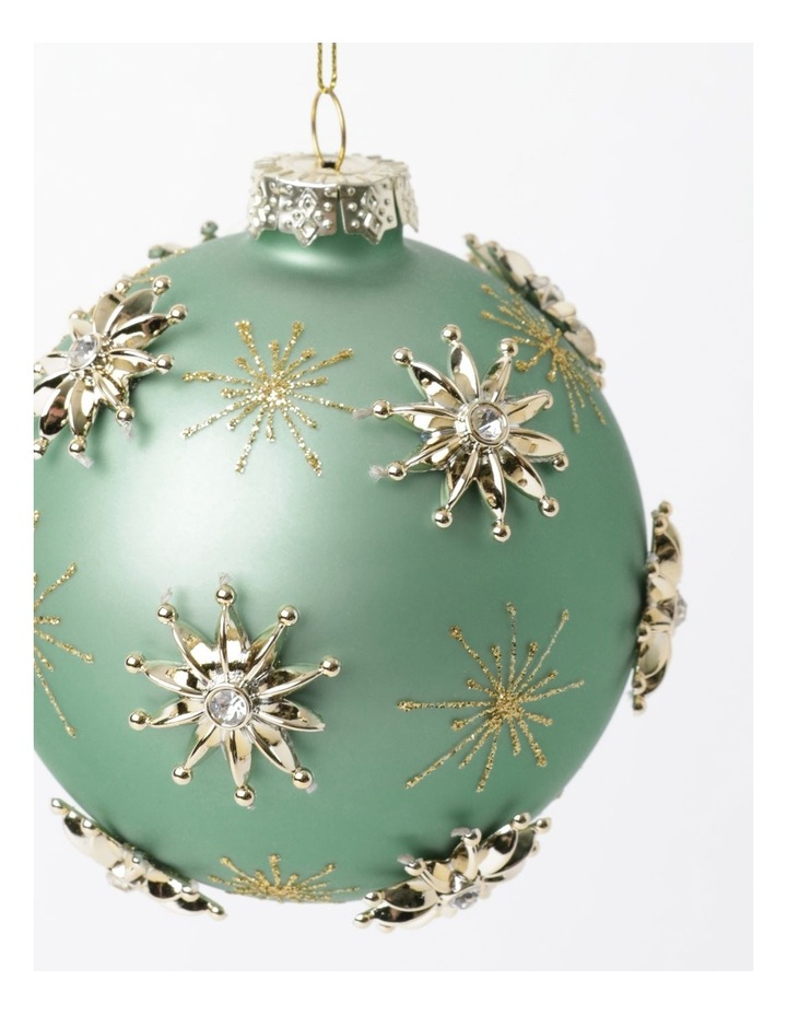 Luxe Glass Snowflake Embellished Bauble- Mint: 10cm image 3