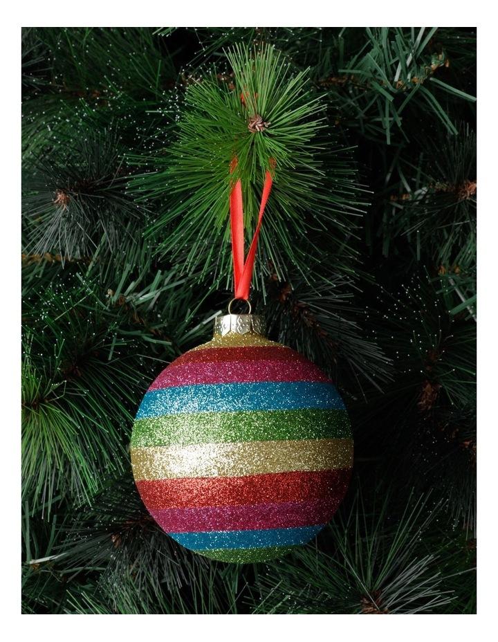 Merry & Bright Glass Glittered Rainbow Stripe Bauble- Multi: 10cm image 1