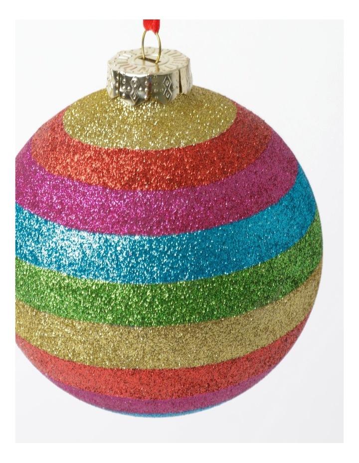 Merry & Bright Glass Glittered Rainbow Stripe Bauble- Multi: 10cm image 3