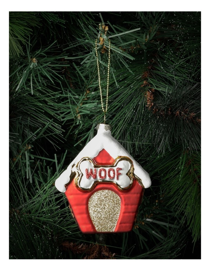 Merry & Bright Glass Dog House Ornament- Red: 10cm image 1