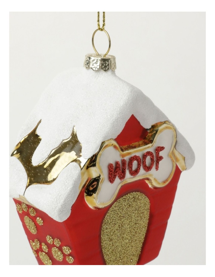 Merry & Bright Glass Dog House Ornament- Red: 10cm image 3