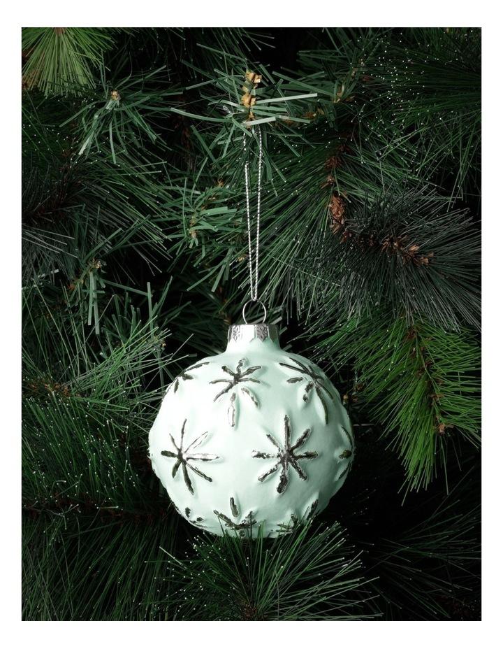 Eucalyptus Glass Embossed Snowflake Bauble- Green: 9cm image 1
