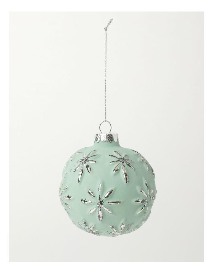 Eucalyptus Glass Embossed Snowflake Bauble- Green: 9cm image 2