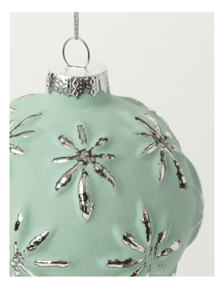 Eucalyptus Glass Embossed Snowflake Bauble- Green: 9cm image 3