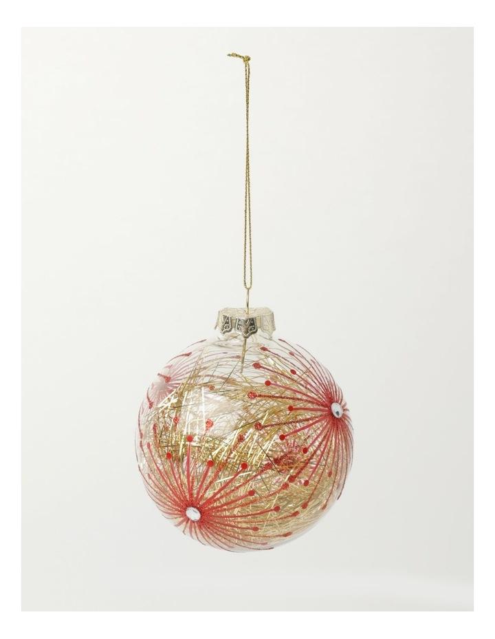 Heirloom Glass Starburst Tinsel Filled Bauble- Red: 10cm image 2