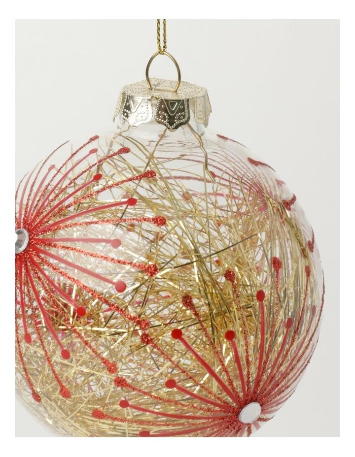 Heirloom Glass Starburst Tinsel Filled Bauble- Red: 10cm image 3