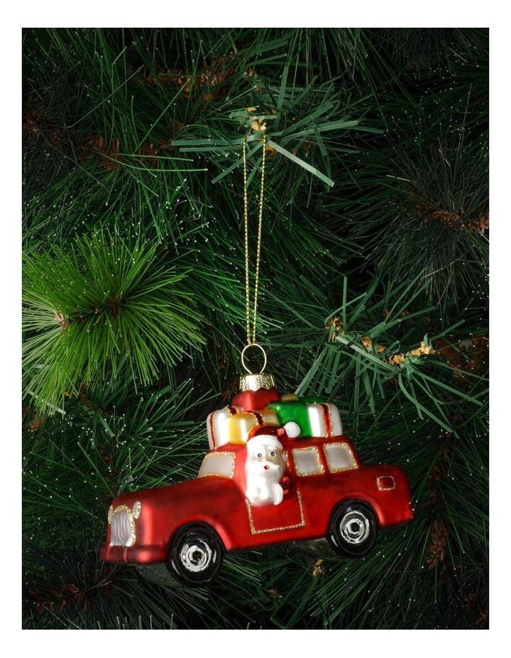 Merry & Bright Glass Santa On Car Ornament- Red: 11cm image 1