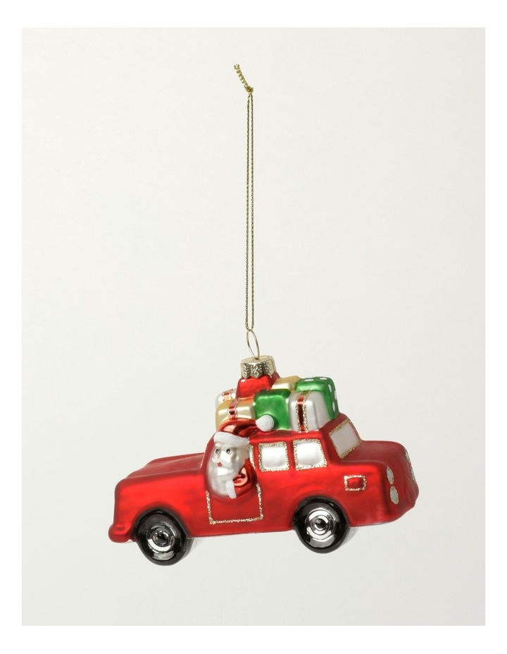 Merry & Bright Glass Santa On Car Ornament- Red: 11cm image 2