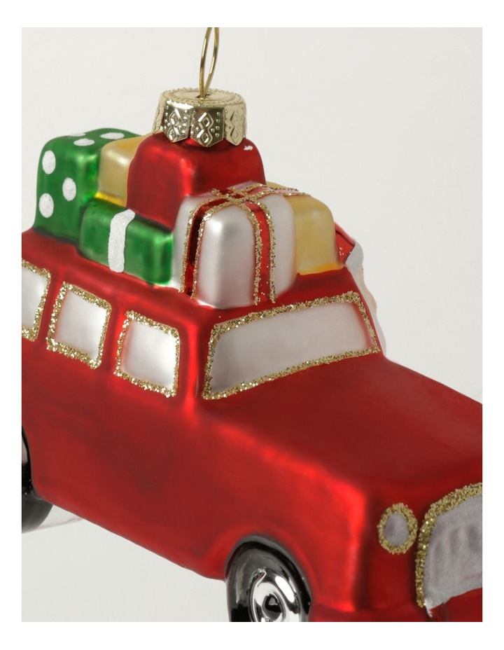 Merry & Bright Glass Santa On Car Ornament- Red: 11cm image 3