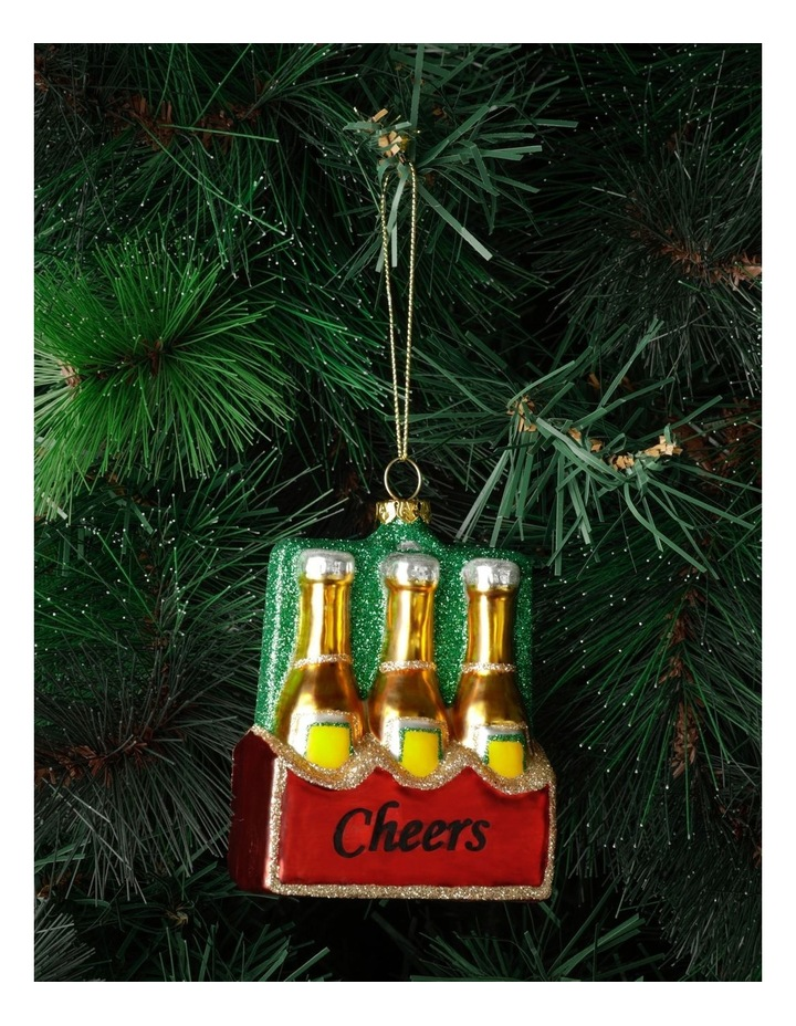 Merry & Bright Glass Case of Beer Ornament: Multi: 11cm image 1