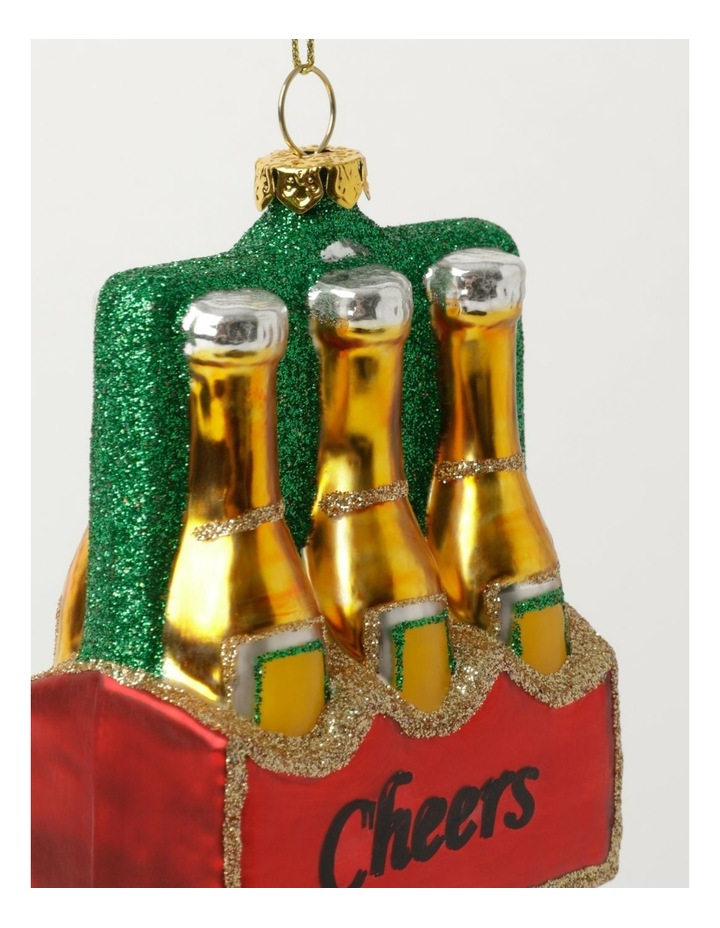 Merry & Bright Glass Case of Beer Ornament: Multi: 11cm image 3