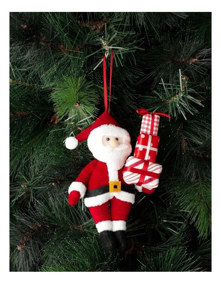 Merry & Bright Plush Santa w/ Gifts Ornament- Red: 20cm image 1
