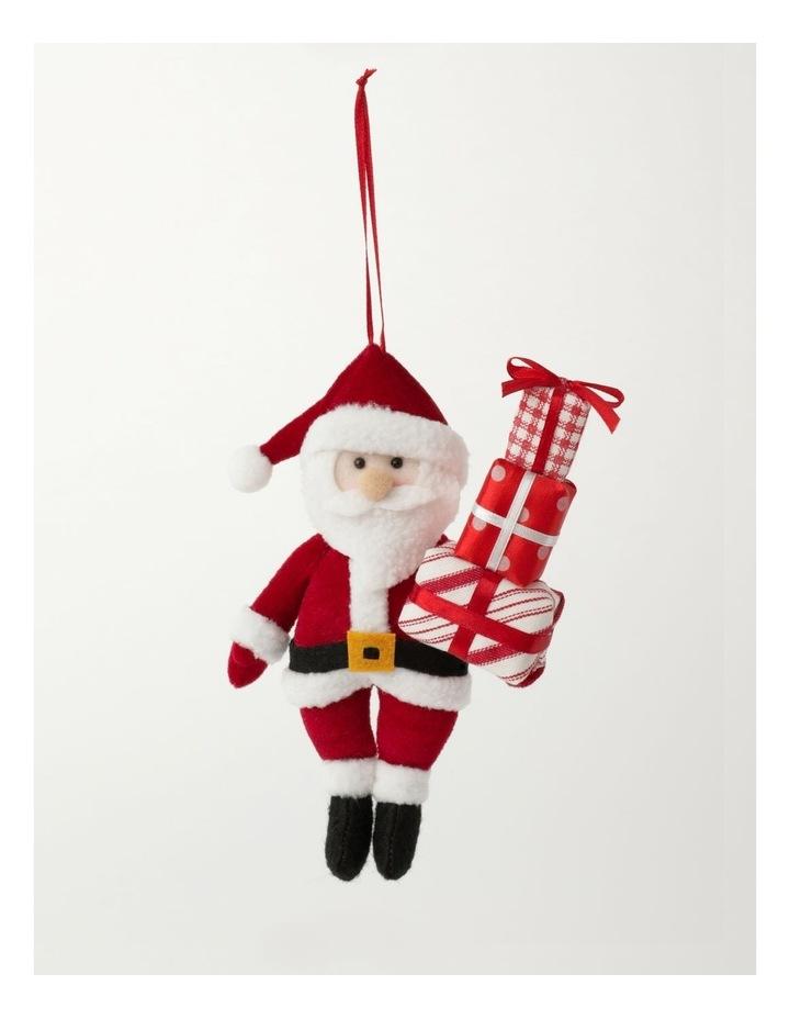 Merry & Bright Plush Santa w/ Gifts Ornament- Red: 20cm image 2