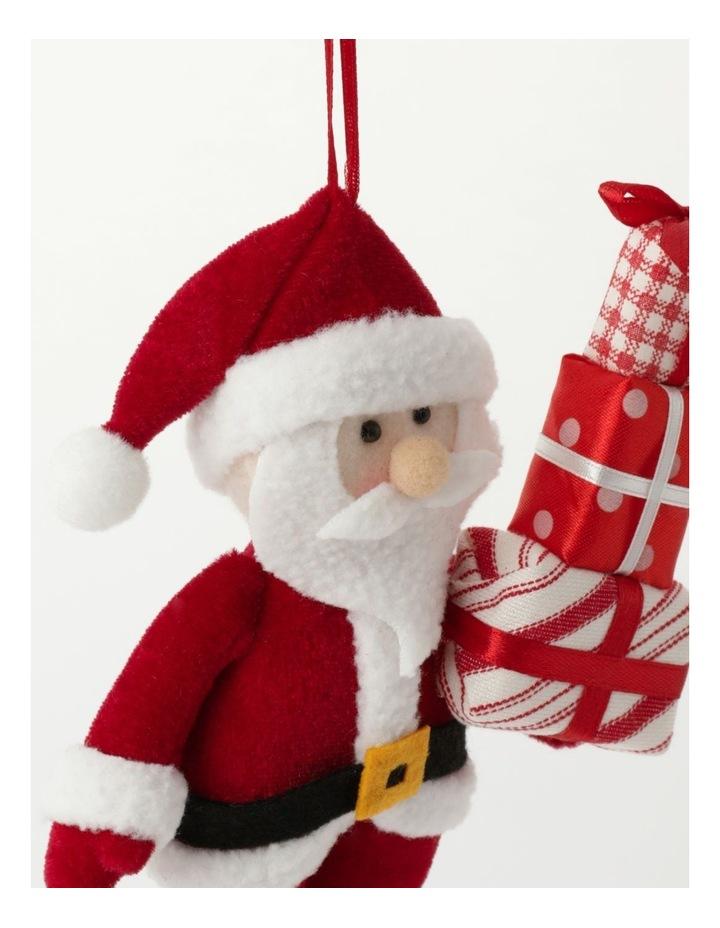 Merry & Bright Plush Santa w/ Gifts Ornament- Red: 20cm image 3