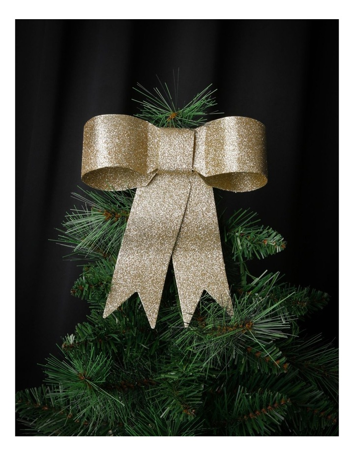 Luxe Metal Ribbon Bow Tree-Topper in Gold-Tone image 3