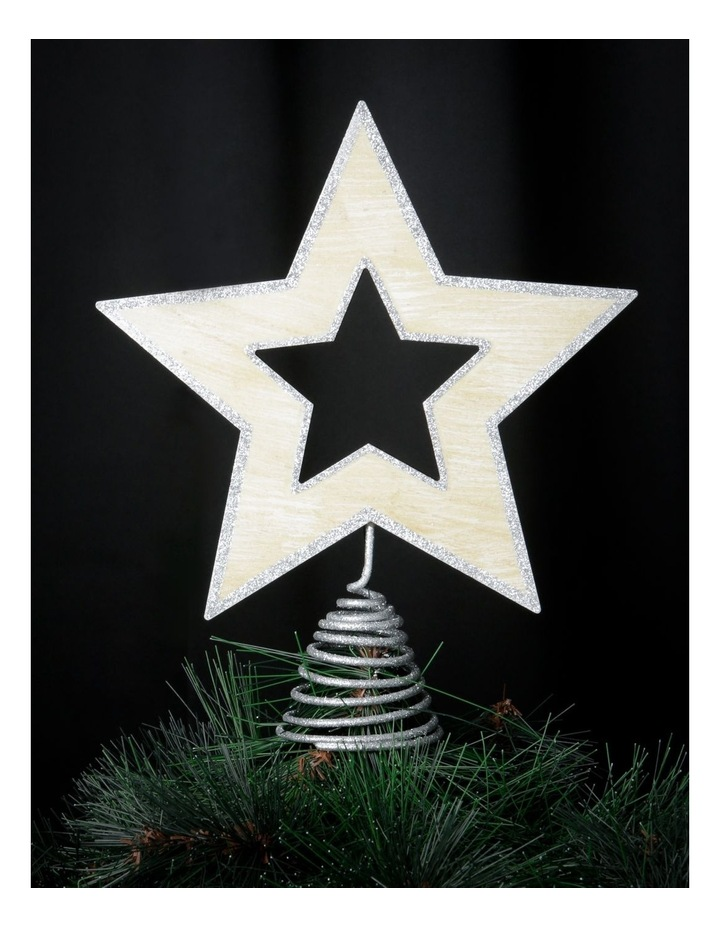 Eucalyptus Silver Star Tree-Topper with Glittered Edge image 2