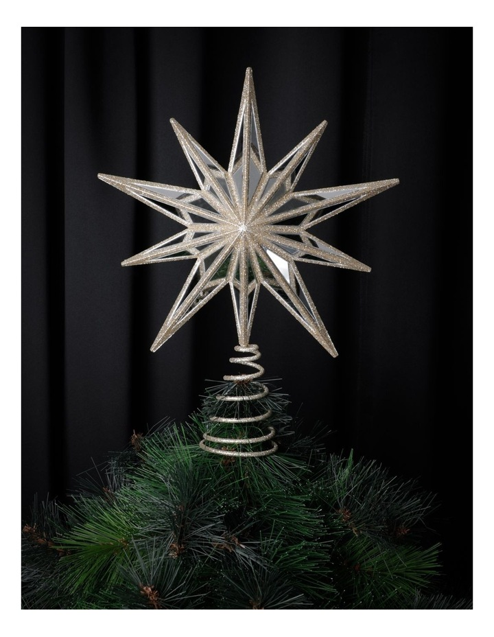 Luxe Plastic Mirrored Decagram Star Tree Topper- Champage: 31cm image 1