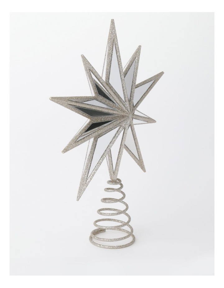 Luxe Plastic Mirrored Decagram Star Tree Topper- Champage: 31cm image 3