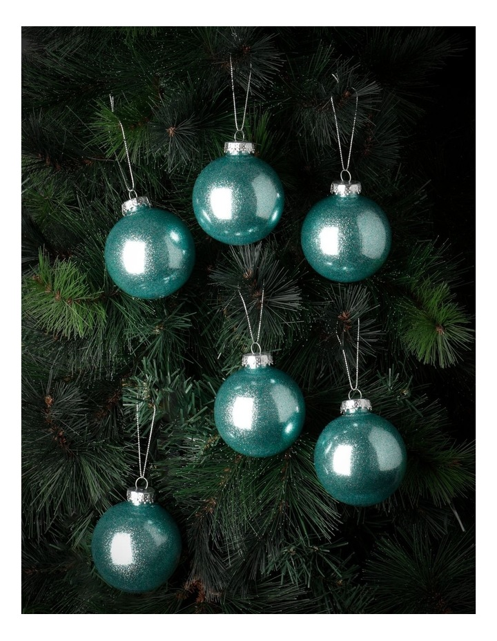 Luxe 6Pk Plastic Clear Bauble With Glitter- Mint: 8 Cm image 2