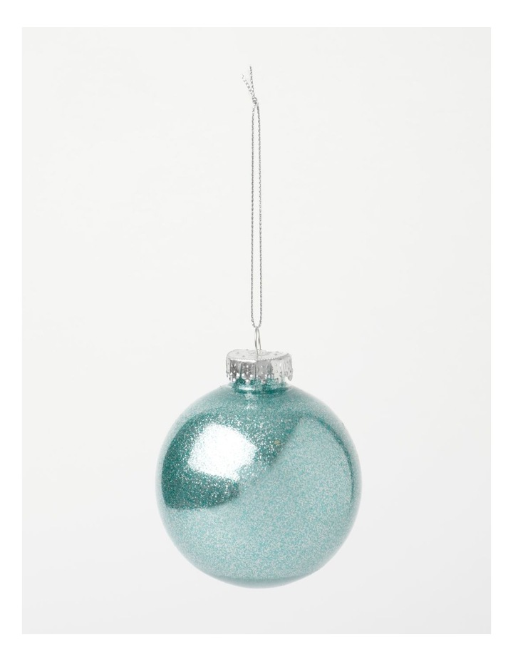 Luxe 6Pk Plastic Clear Bauble With Glitter- Mint: 8 Cm image 3