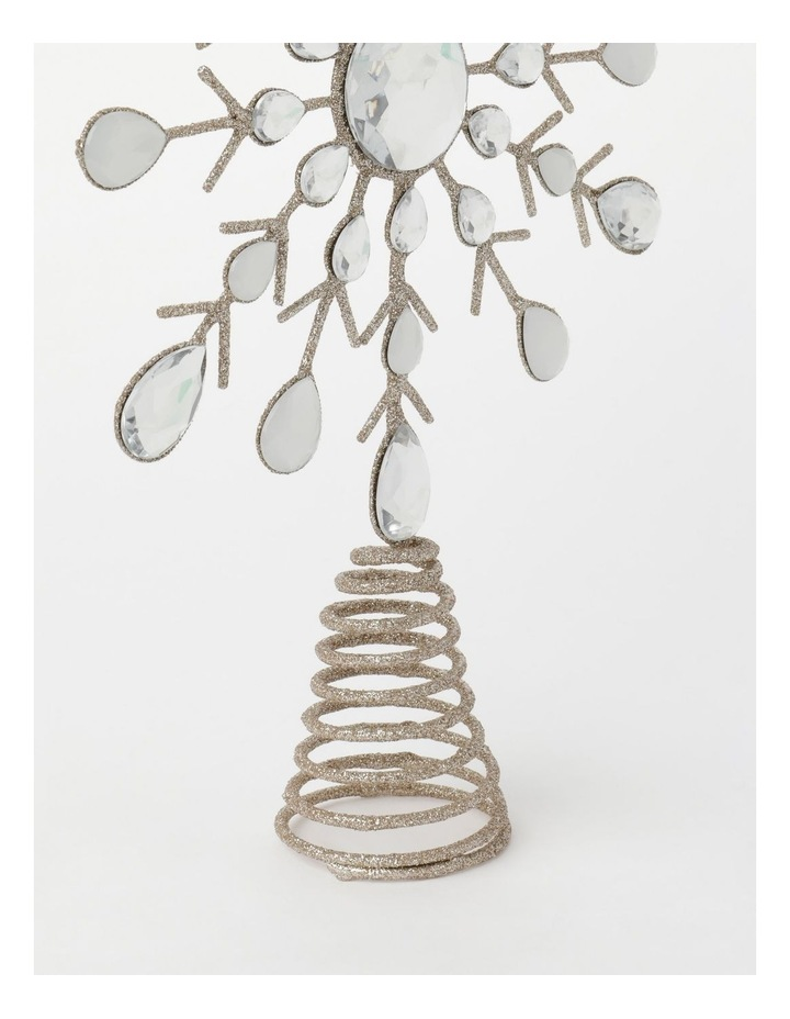 Luxe Metal & Faux Gems Snowflake Tree Topper- Champagne: 30 cm image 3