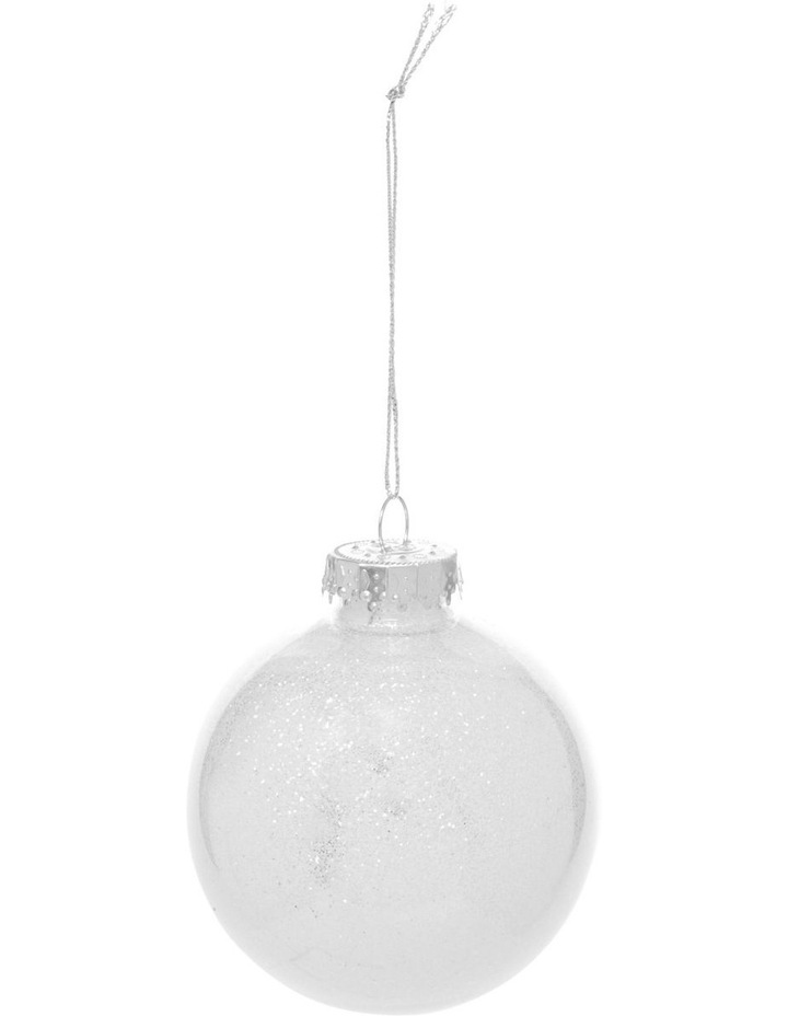 Eucalyptus White and Silver Baubles with Glitter Feature - Set of 6 image 2