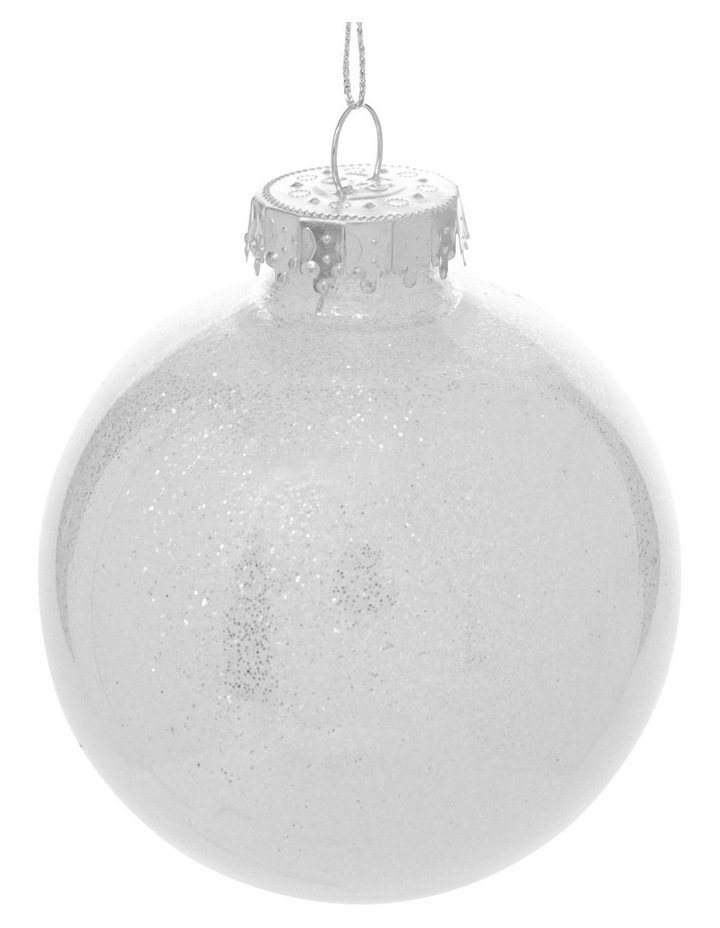 Eucalyptus White and Silver Baubles with Glitter Feature - Set of 6 image 3