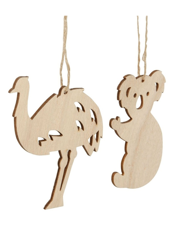 Eucalyptus Plywood Koala Set of 4 Wooden Australian Animal Ornament- Natural 5 cm image 3