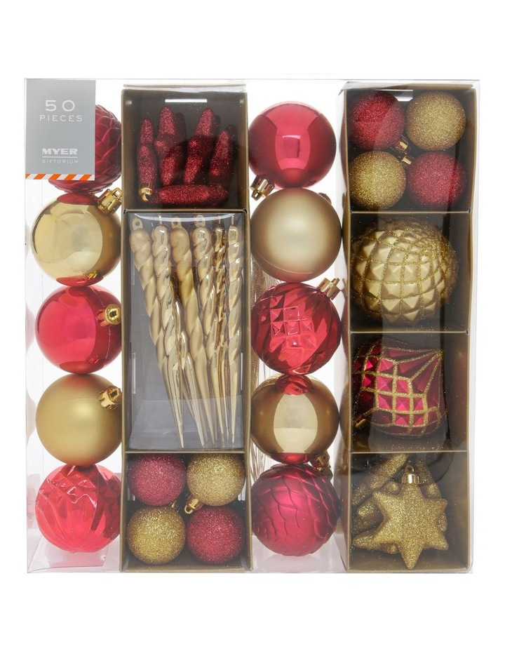 Heirloom Assorted Red & Gold Shatter-Resistant Ornaments 50pk image 1