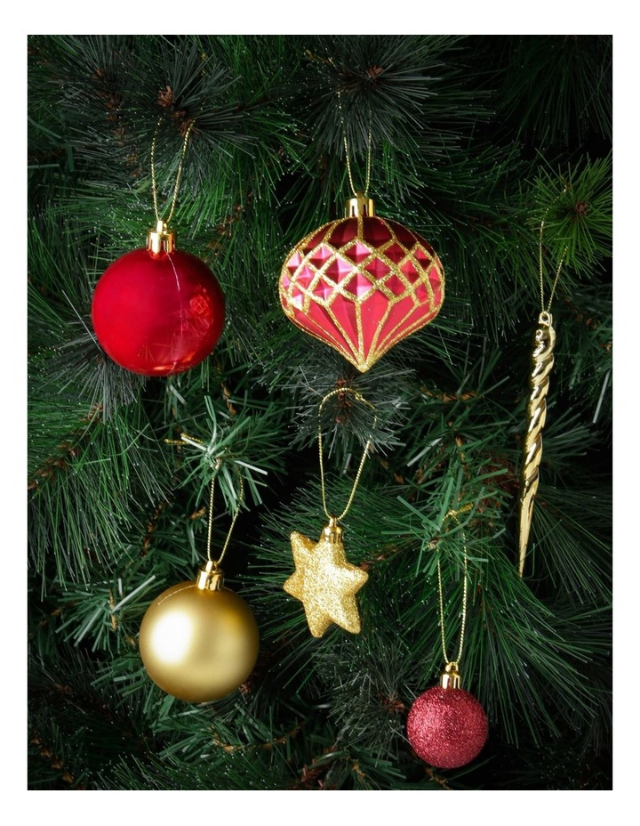 Heirloom Assorted Red & Gold Shatter-Resistant Ornaments 50pk image 2