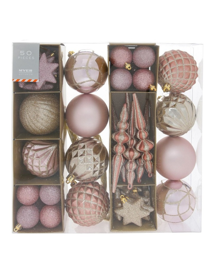 Luxe Assorted Champagne & Pink Shatter-Resistant Ornaments 50pk image 1